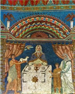 Mosaico di sant'Apollinare in Classe (Ravenna), VI sec.: i tre personaggi Abele, Melchisedech, Abramo, sono raffigurati intorno all'altare come concelebranti.